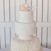 Ruffle Beach Wedding Cake