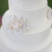 White Sugar Flower Wedding Cake