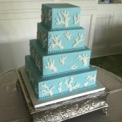 Aqua Coral Wedding Cake