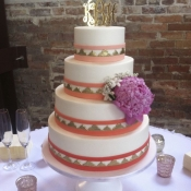 Coral Gold Wedding Cake