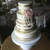 Gold and Pearl Wedding Cake