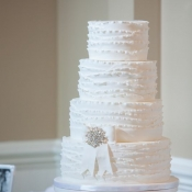 White Fondant Ruffle Wedding Cake
