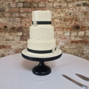 Black and White Formal Wedding Cake