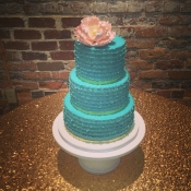 Teal Ruffle Wedding Cake